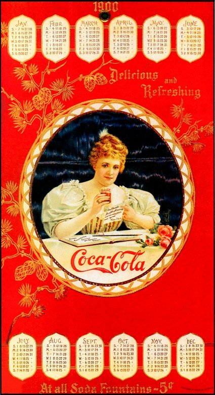 Coca-Cola calendar with (Hilda Clark) 1900