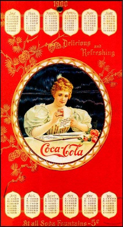Coca-Cola calendar with (Hilda Clark) 1900