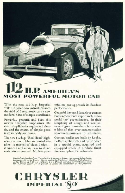 112 h.p. America's most poweful motor car, 1928