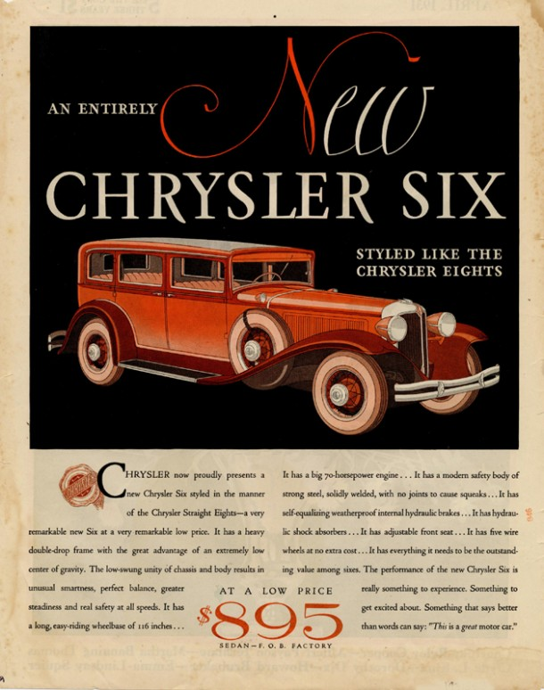 An entirely new Chrysler Six, styled like the Chrysler Eights, 1931