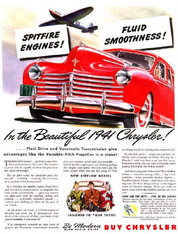 Be modern with fluid drive, buy Chrylser, 1941