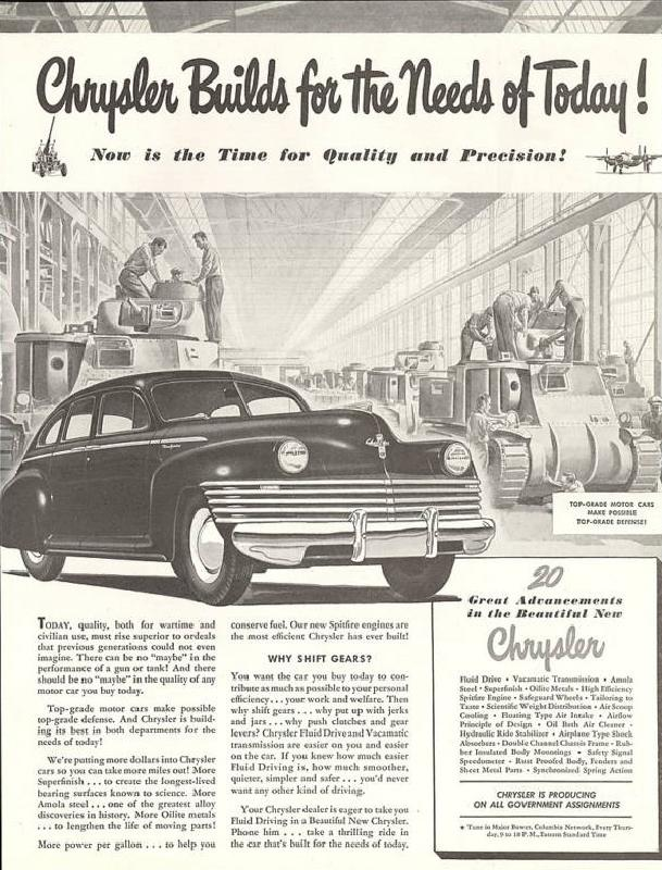 Chrysler builds for the needs of today, now is the time for quality and precision, 1942