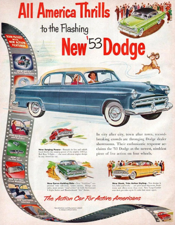 All America thrills to the flashing new '53 Dodge, 1952