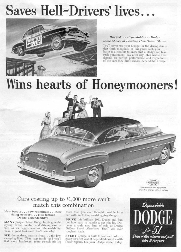Saves hell-drivers' lives... wins hearts of honeymooners!, 1951