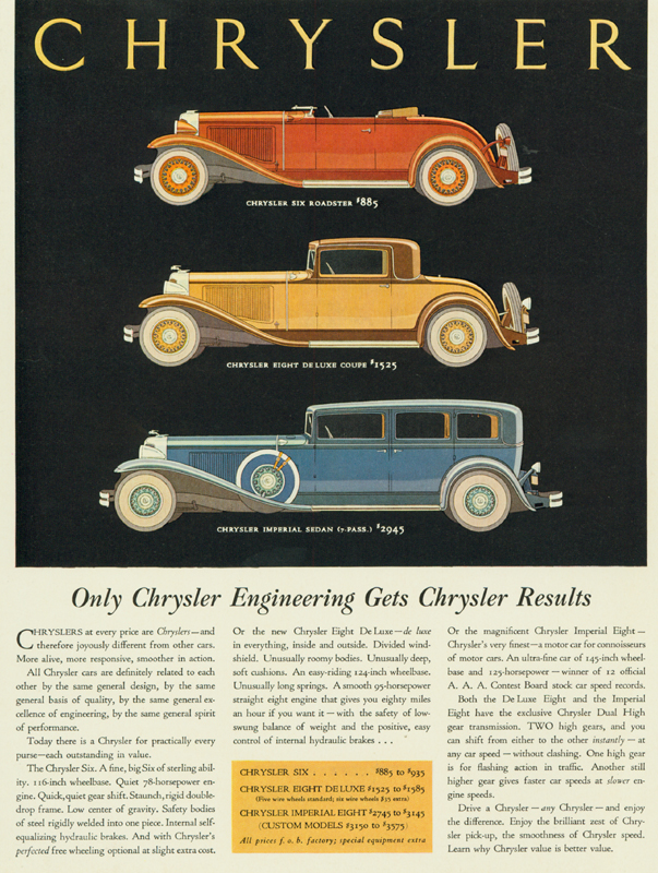 Only Chrysler engineering gets Chrysler results, 1931