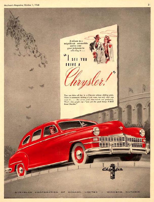 I see you drive a Chrysler!, 1948