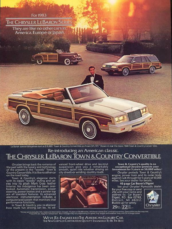 The Chrysler LeBaron town & country convertible, 1983