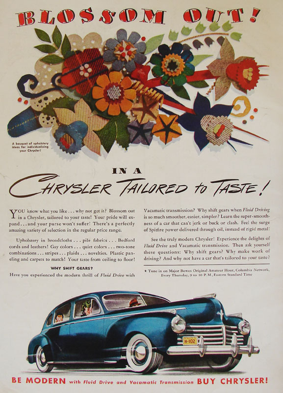 Blossom out! In a Chrysler tailored to taste!, 1941