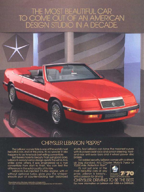 The most beautiful car to come out of an American design studio in a decade, 1989