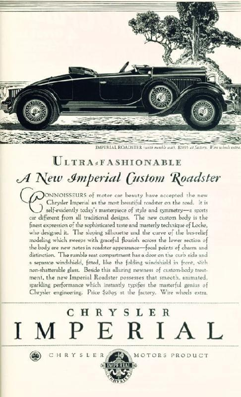 Ultra fashionable a new Imperial Custom Roadster, 1929