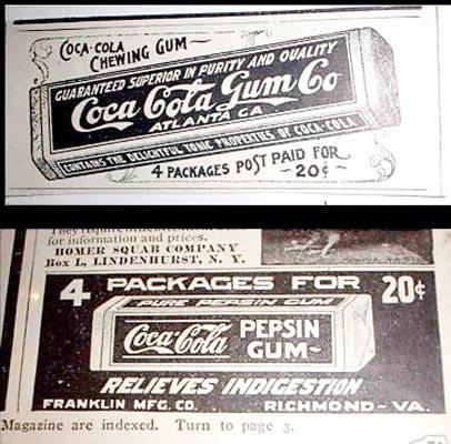 Coca-Cola pepsin gum ads 1904-1905