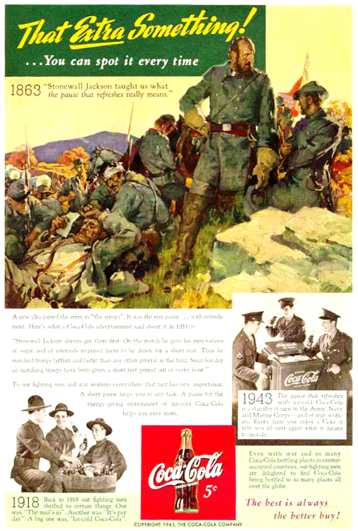 Coca-Cola Compares the Wartime experiences of Three Wars, c.1943