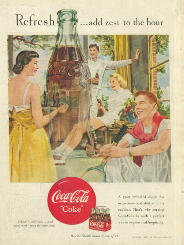 Coca-Cola a guest refreshed enjoys the occasion 1950