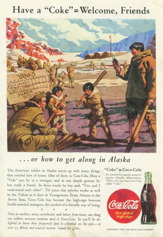 American soldier in Alaska, Coca-Cola ad 1943