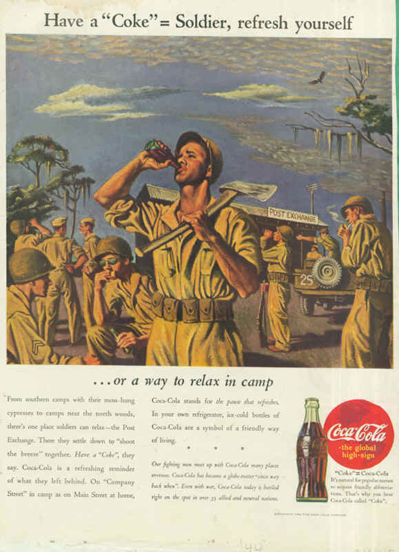 American soldiers at Post Exchange, Coca-Cola ad 1944