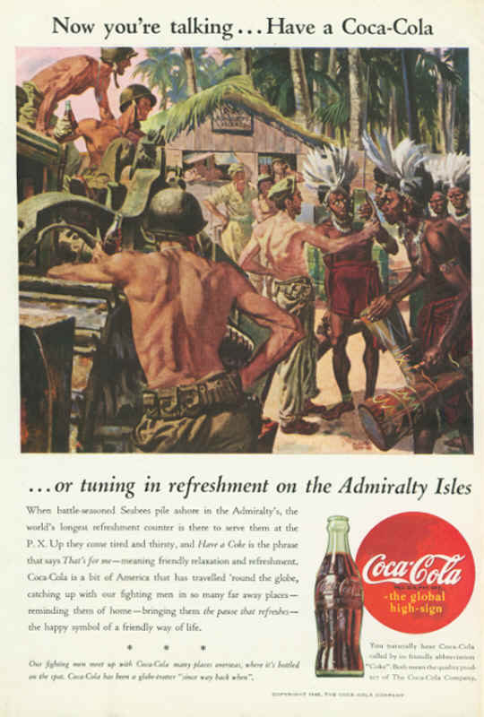 American soldiers in Admiralty Isles, Coca-Cola ad 1945
