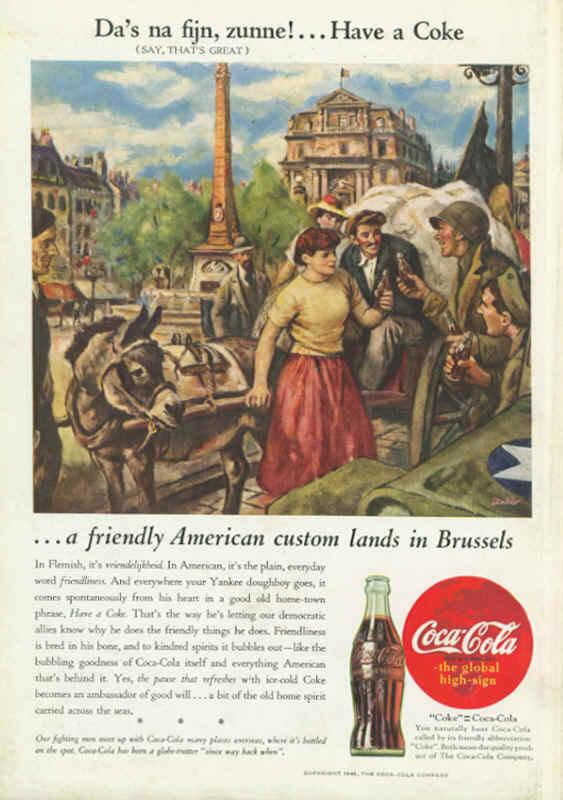 American soldiers in Belgium Coca-Cola ad 1945