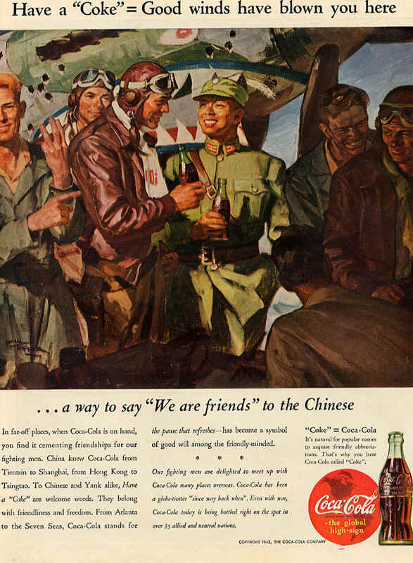 American soldiers in China, Coca-Cola ad 1943