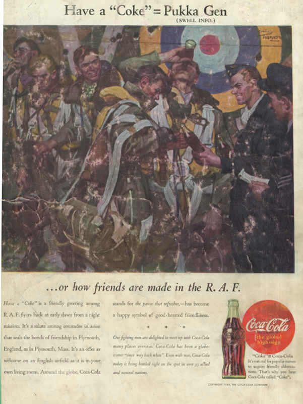 American soldiers in England with Royal Air Force flyers, Coca-Cola ad 1944