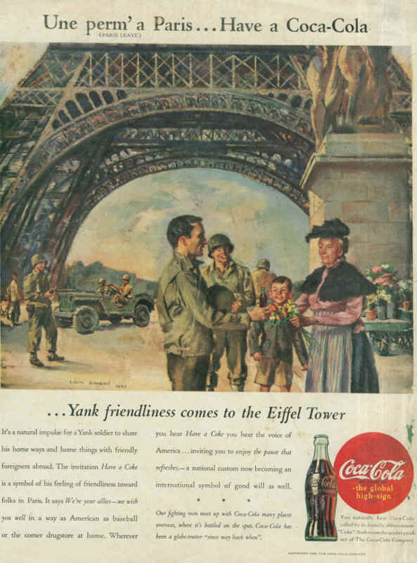 American soldiers in France, Coca-Cola ad 1945