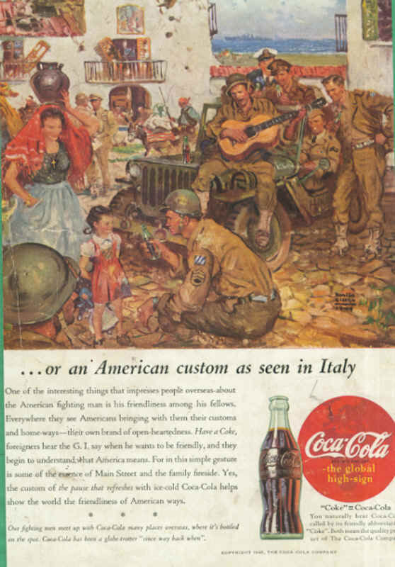 American soldiers in Italy, Coca-Cola ad 1945