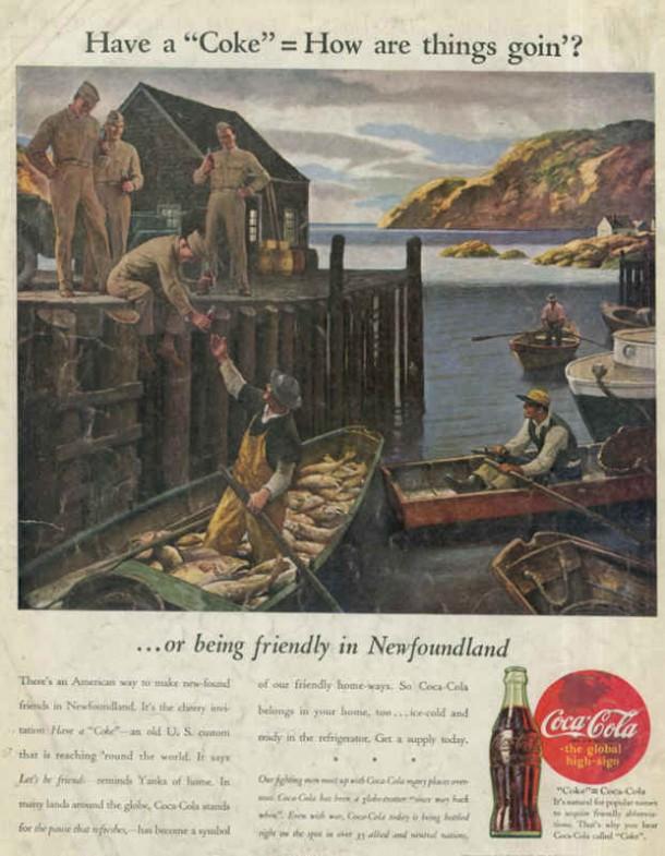 American soldiers in Newfoundland, Coca-Cola ad 1944