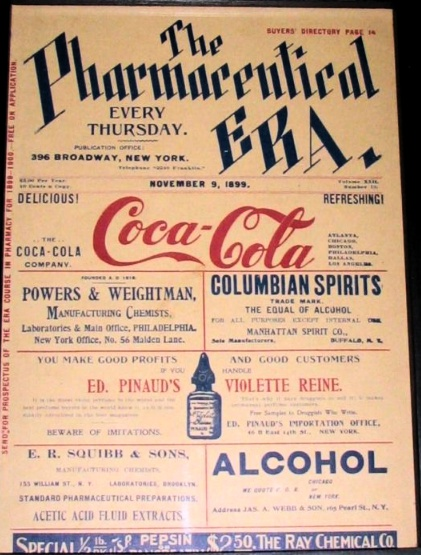 1899 Coca-Cola ad at the weekly newspaper focused on pharmaceutics