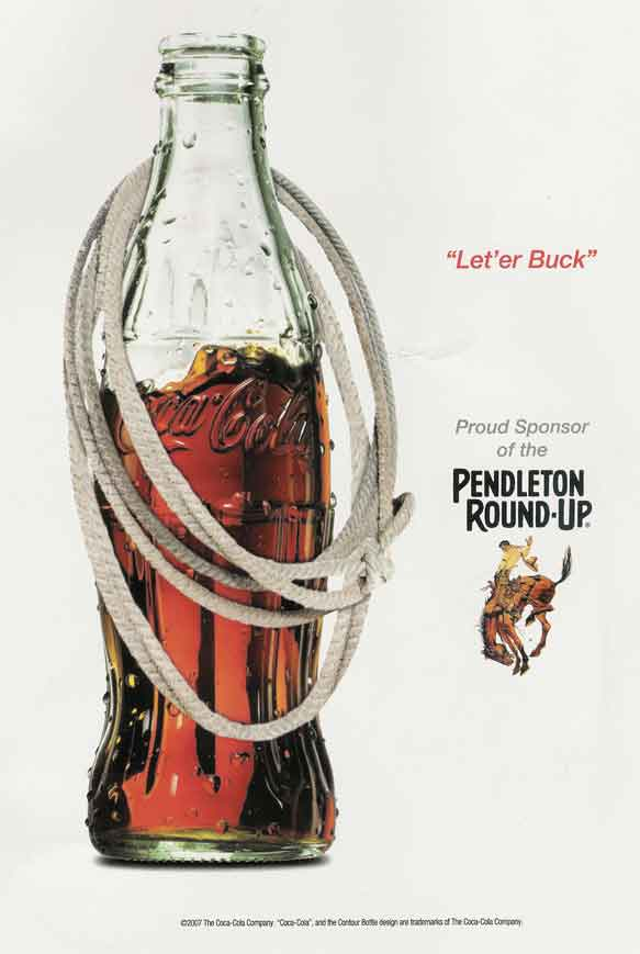 Coca-Cola ad for Pendleton Round-Up Rodeo 2007