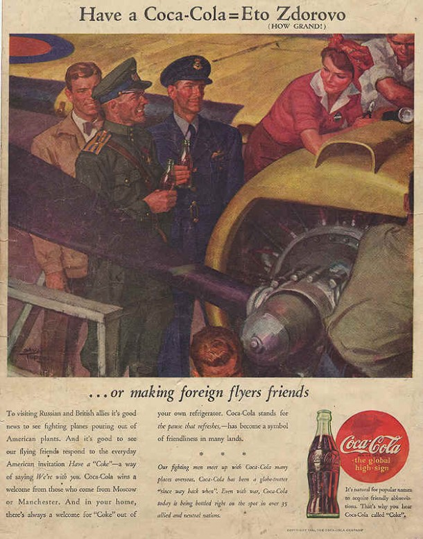 Russian and British pilots, Coca-Cola ad 1944