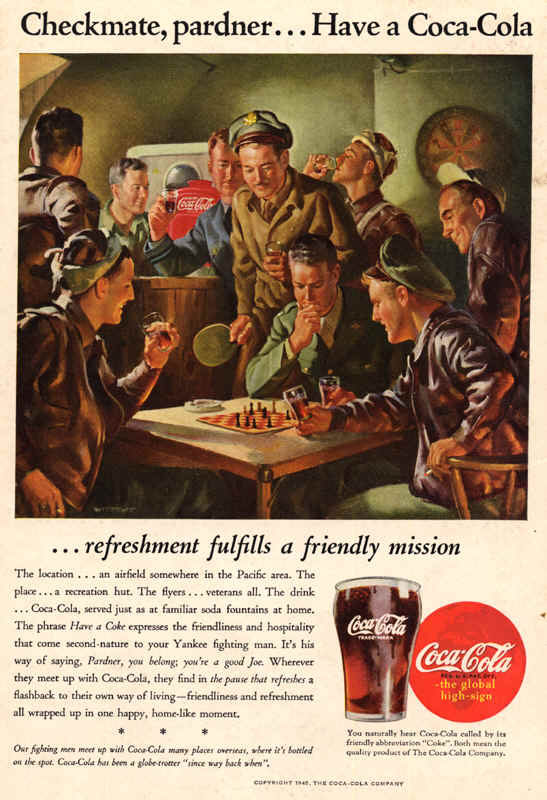 Somewhere in Pacific area, Coca-Cola ad 1945