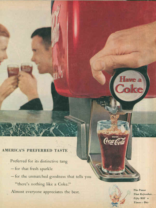 Coca-Cola America's preferred taste 1955