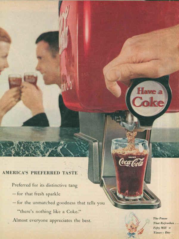 Coca-Cola America's preferred taste 1955