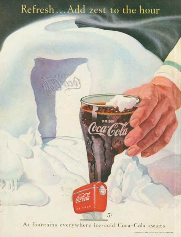 At fountains everywhere ice-cold Coca-Cola awaits 1950
