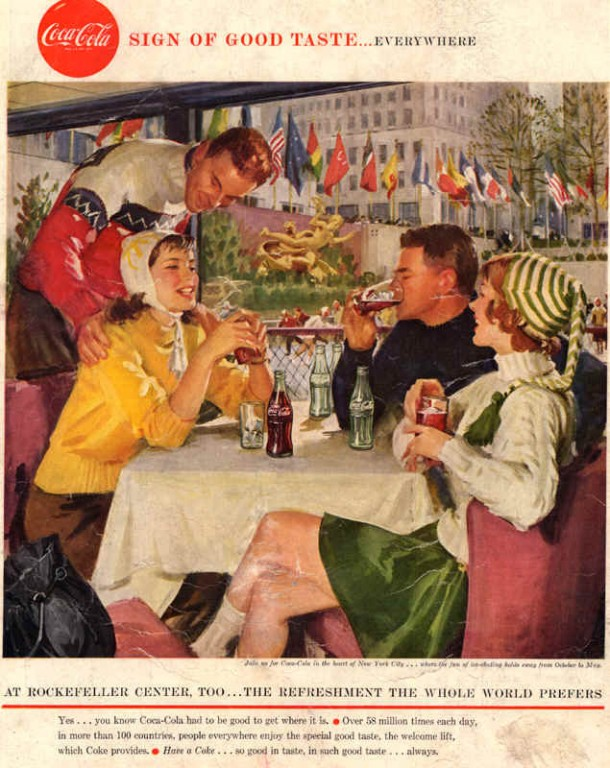 Coca-Cola at Rockefeller center, too 1958