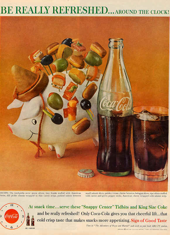 "Serve these ""Snappy Center"" Tidbits and King Size Coke 1960"