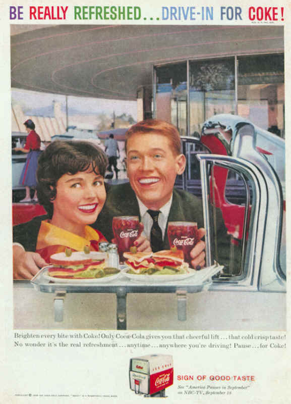 Be really refreshed... Drive-in for Coke 1959