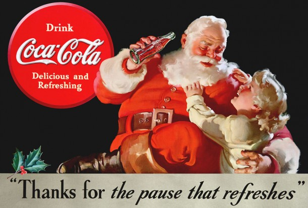 The 1938 Coca-Cola Santa Claus artwork marked the first appearance of a child with Santa.