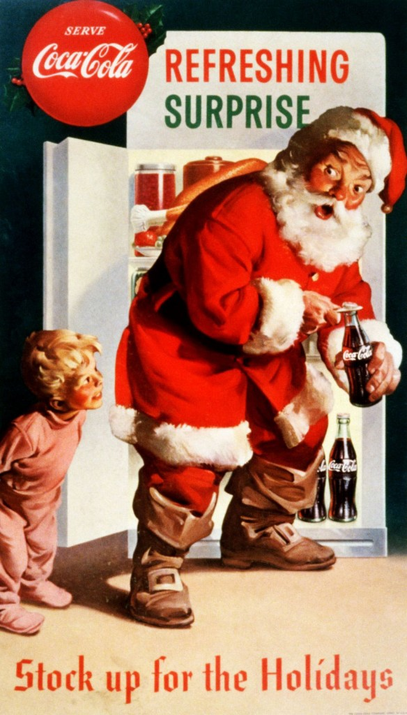 Coca Cola Christmas with Santa caught by Little Boy. 1959