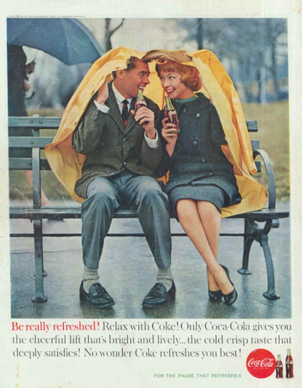 Coca-Cola couple in the rain 1960