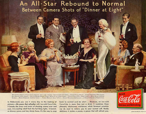 "The cast of the movie ""Dinner at eight"" in Coca Cola advert 1933"
