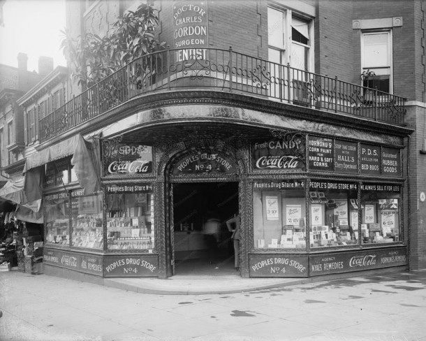 Drug store with Coca-Cola signs 1920