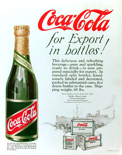 Coca-Cola for export in bottles! 1920s