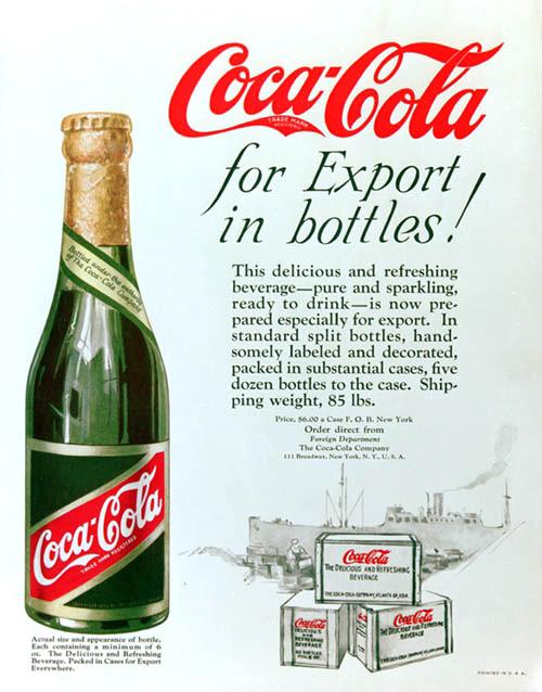 Coca-Cola for export in bottles! 1920s