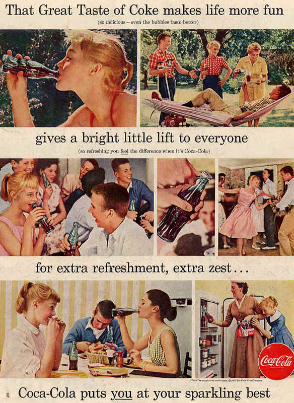 Coca-Cola gives a bright little lift to everyone 1956