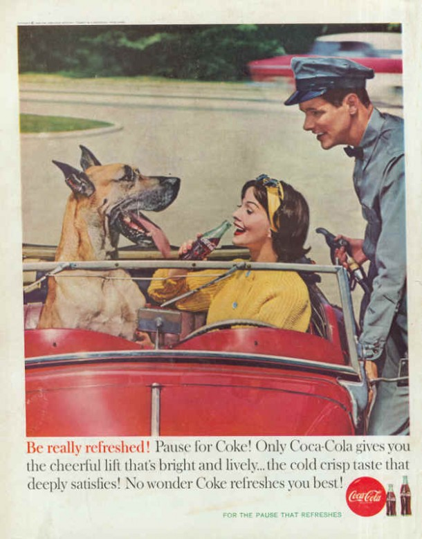 Coca-Cola gives you the cheerful lift 1960