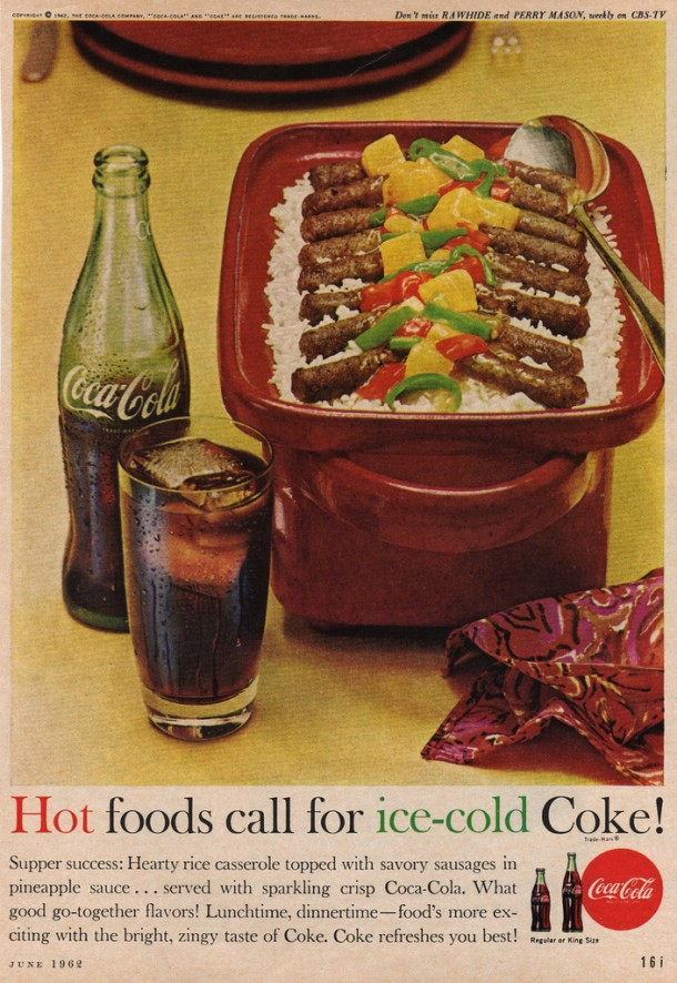 Hot foods call for ice cold Coke! 1962