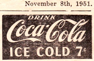 Newspaper ad from 1951, Coca-Cola for 7 cents