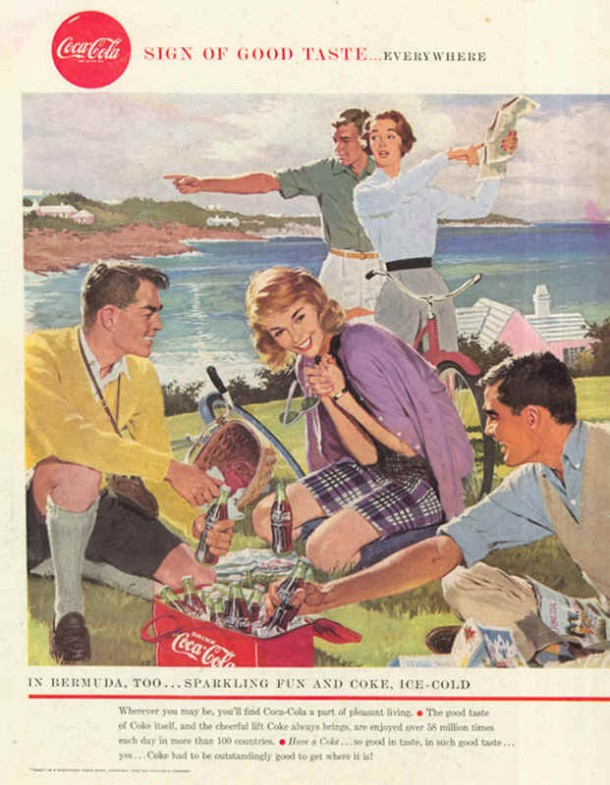 In Bermuda, too... sparkling fun and Coke, ice-cold 1958