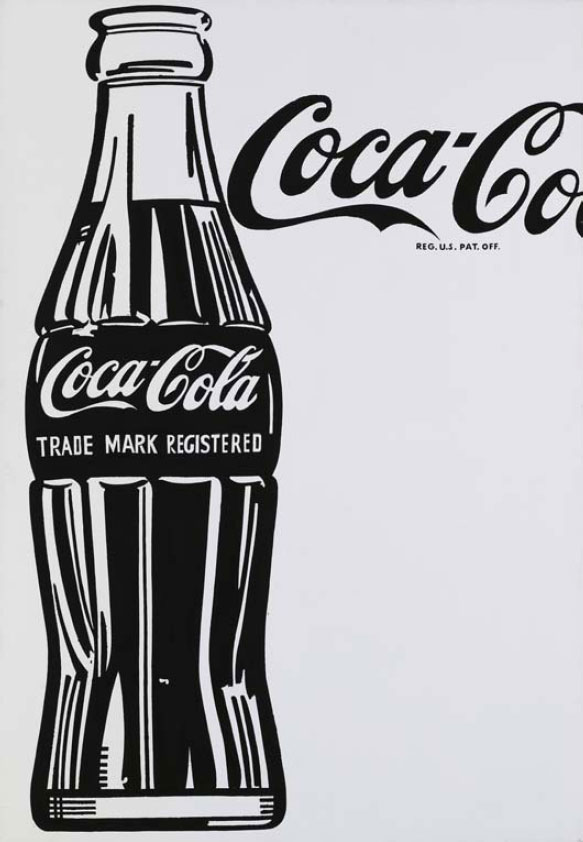 An image of a single Coca-Cola bottle that Andy Warhol painted in 1962