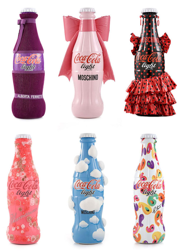 Coca-Cola light tribute to fashion, designer bottles, 2012